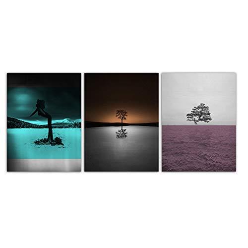 NIEMENGZHEN Druck auf Leinwand Bilder Lonely Tree Night Grau Natur Landschaftsbilder Moderne Wandkunst Leinwand Poster Für Schlafzimmer Wohnkultur-40x60 cm Kein Rahmen