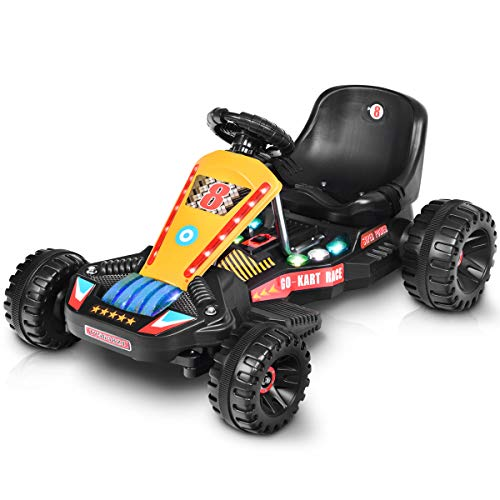 Costzon Electric Go Kart, 6V Battery Powered 4 Wheel Racer for Kids, Kids' Pedal Cars for Outdoor, Ride On Toy Car with LED Flash Light, Music, Forward/Backward, 3-Position Adjustable Seat (Black)