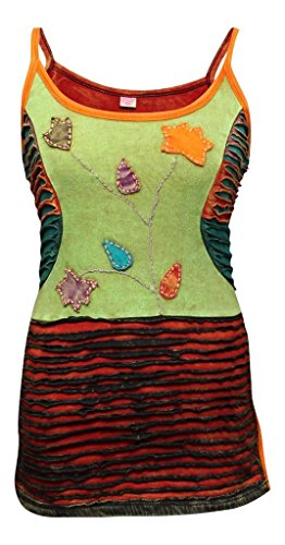 Geborduurd Vintage Stijl Veelkleurige Faded Hippy Festival Vest Tank Top