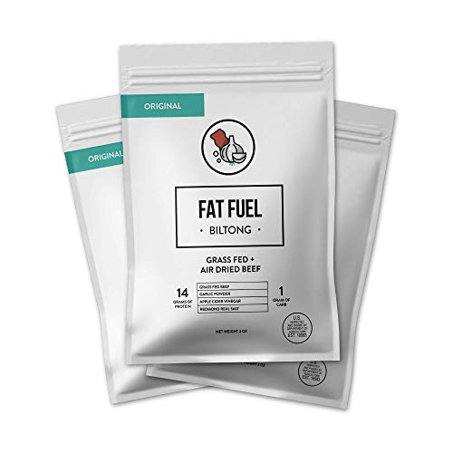 The Fat Fuel Biltong Air-Dried Beef Jerky - (3 Pack) Paleo Friendly Keto Snacks Made with Grass-Fed Beef – No Sugar, Non-GMO, Gluten-Free and Low Carb – 90 Calories and 28g of Protein per bag Original