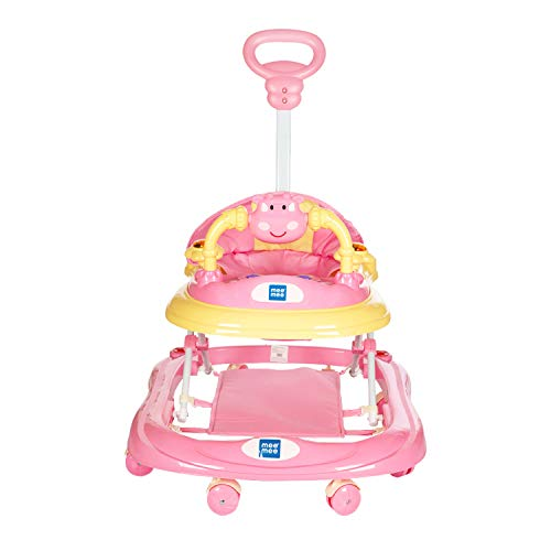 Mee Mee Baby Walker with Adjustable Height and Push Handle Bar (Pink)