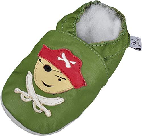 Lappade Pirat grün Pirat LKW Bagger Auto Flugzeug Stern Lederpuschen Hausschuhe Krabbelschuhe Baby Lauflernschuhe mit Ledersohle (Art. 31 Gr. 26/27 EU)