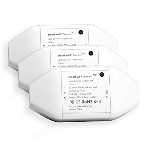 Meross Intelligente WLAN Schalter Universal Smart Switch Fernbedienung mit Sprachsteuerung mit Alexa, Google Assistant und SmartThings, DIY Smart Home für elektrische Haushaltsgeräte, 3 Stücke