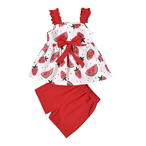 3 Piezas Conjunto de Ropa de Juego Verano Niña Pequeña Camiseta sin Mangas de Volante con Estampado Floral Pantalón Corto de Cintura Elástica Diadema de Lazo Ropa Casual Bebé