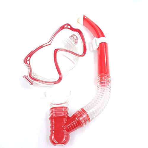 Solmar Gafas y Tubo de Snorkel Set Kit de Snorkeling Anti-Vaho Anti-Fuga Máscara de Buceo para niños Unisex Adultos (37cm-REF12164, Rojo-modelo12164)