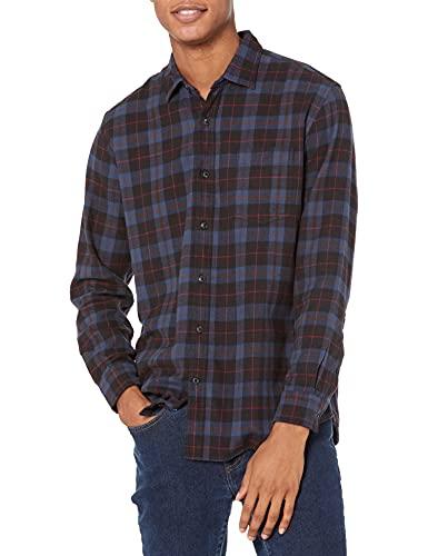 Amazon Essentials Herren Flanellhemd, Blue/Black Plaid, Small