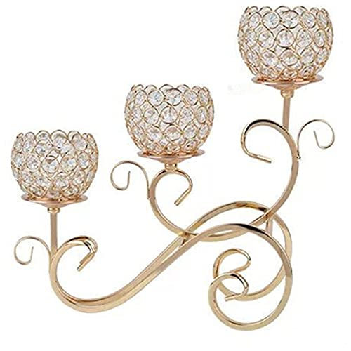 Gold 3 Arms Metal Crystal Candle Holder Shiny Candlestick Holders
