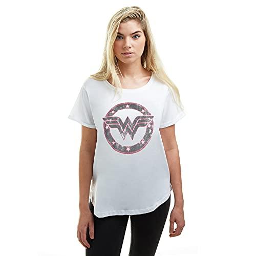 DC Comics Wonder Woman-WW Emblem Camiseta, Blanco, L para Mujer