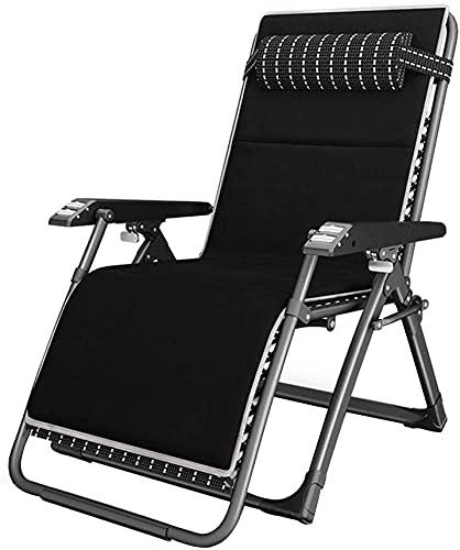 Silla de la tumbona Patio Silla de silla reclinable de gravedad cero Sillón reclinable ajustable con reposabrazos espesados y cojín extraíble, silla plegable, adecuado para jardín exterior terraza b
