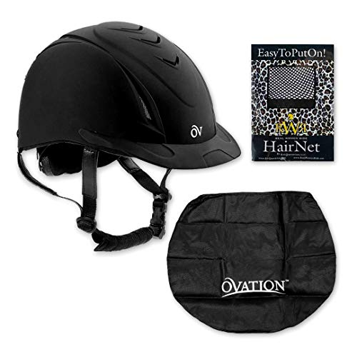 Ovation Unisex Schooler Deluxe Riding Helmet - (Small/Medium 467566BLK) with RWR No Knot Hairnet & Ovation Dust Bag