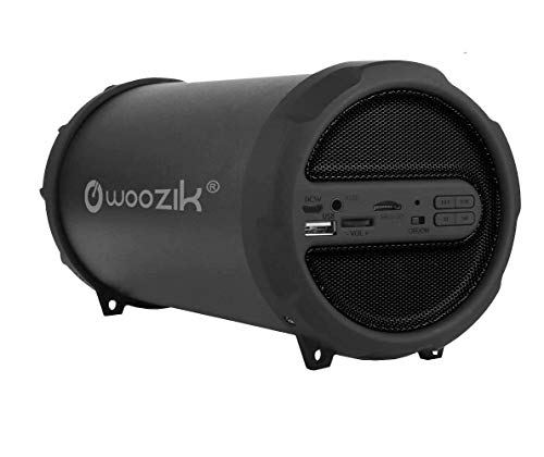 WOOZIK Rockit Go / S213 Bluetooth Speaker, Wireless Boombox Indoor/Outdoor with FM Radio,Micro SD Card, USB, AUX 3.5mm Support, Rechargeable Battery, Strap for Travel, Great for Parties! - Black