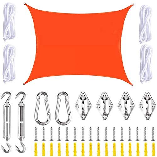 THJ Toldo de vela con protección UV, impermeable, para patio, jardín, con cuerdas, rectangular (2 m x 3 m, rojo A)