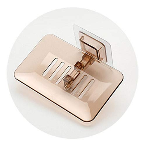 ZHNINGUR Platos de jabón de baño Ducha de Drenaje sostenedor de la Esponja montado en la Pared de Almacenamiento en Rack Soap Box Organizador de contenedores (Color : Marrón, Size : Gratis)
