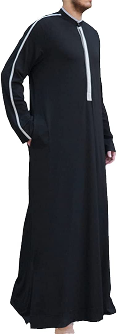 Eyastvgnf Islamic Clothes Men Muslim Arab Kaftan Stand Collar Long Sleeve Robes Patchwork Arabia Dubai Men