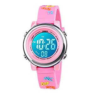 Kids Watches 3D Cute Cartoon Digital 7 Color Lights Toddler Wrist Watch with Waterproof Sports Outdoor LED Alarm Stopwatch Silicone Band for 3-10 Year Boys Girls Little Child