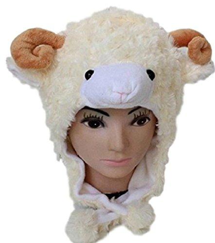 [笑顔一番] 全10種 ヒツジ 羊 動物 の モコモコ 被り物 キャップ 帽子/写真撮影 パーティー グッズ コスプレ [A073-12] (ベージュ)