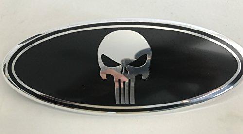 Exotic store F-9SKB Black Punisher Modified Emblem For FORD EXPLORER EDGE F-150 F-250 F350 Rear OVAL Punisher EMBLEM FRONT GRILLE Tailgate Rear 9 Inch Badge (Black + Chrome Line)