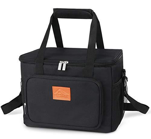 Anstore 15L Kühltasche Picknicktasche Lunchtasche Mittagessen Tasche Thermotasche Kühltasche Faltbare Isoliertasche Kühlkorb Kühlbox für Lebensmitteltransport, Schwarz