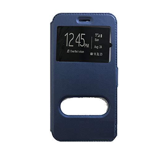 Compatibel met HUAWEI Y32 Y3 II 2 Y3II LUA-L21 LUA-L22 LUA-L23 beschermhoes flip cover flip venster magneetvenster standaard gel silicone kunstleer portemonnee blauw
