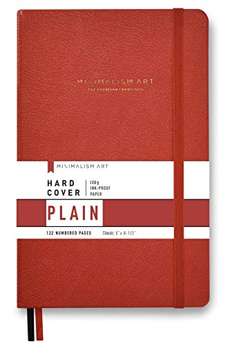 Minimalism Art, Premium Hard Cover Notebook Journal, Plain Blank Page, 122 Numbered Pages, Gusseted Pocket, Ribbon Bookmark, Extra Thick Ink-Proof Paper 120gsm, Classic 5