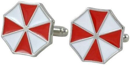 Resident Evil Corp. Umbrella Red White Bio Hazard Cufflinks + Free Box & Cleaner
