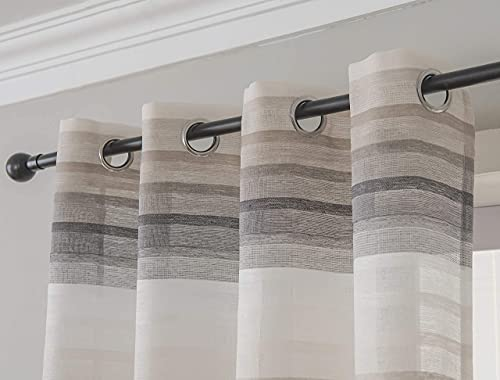 SEEKRIGHT Grey Color Block Striped Curtains for Bedroom - Linen Sheer Curtains 63 inch Length - Three Tone Sheer Curtains Window Curtains for Living Room with Grommets, 2 Panels