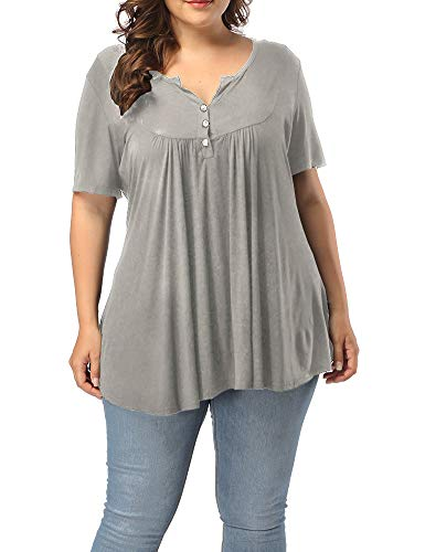 Allegrace Plus Size Blouses for Women Short Sleeve Summer Pleated Blouse Tops H1 Gray 4X