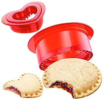 Tribe Glare Sandwich Cutter and Sealer - Decruster Sandwich Maker - Cut and Seal - Great for Lunchbox and Bento Box Red Circle & Heart