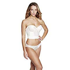 QUALITY MATERIALS: This strapless is 100% Nylon. The body is soft and features a molded, three section, fiber filled contour cups for superior support. STYLISH COMFORT: The Noemi from our Bridal Collection is an elegant strapless Tricot bustier made ...