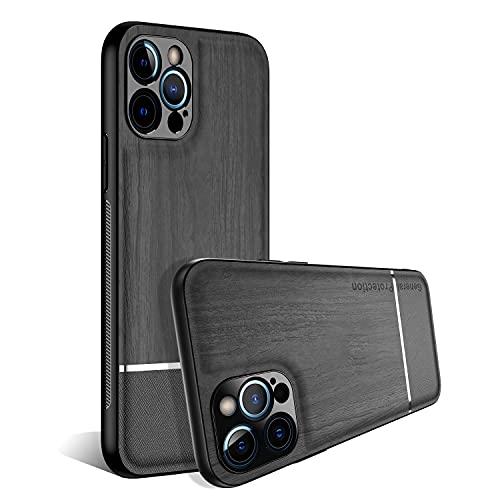 ZCDAYE Case for iPhone 12,iPhone 12 Cover,Environmental Wood Grain Pattern Non-Slip Edge Design Anti-Fingerprint Soft TPU Protective Case for iPhone 12-Black