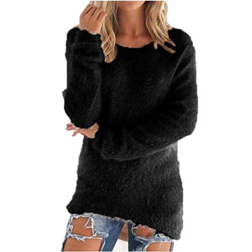 JiaMeng Damen Winter Pullover, Mode Damen Winter Warm Pullover Langarm Sweatshirt Pullover Pullover Tops Bluse (Schwarz, 3XL)