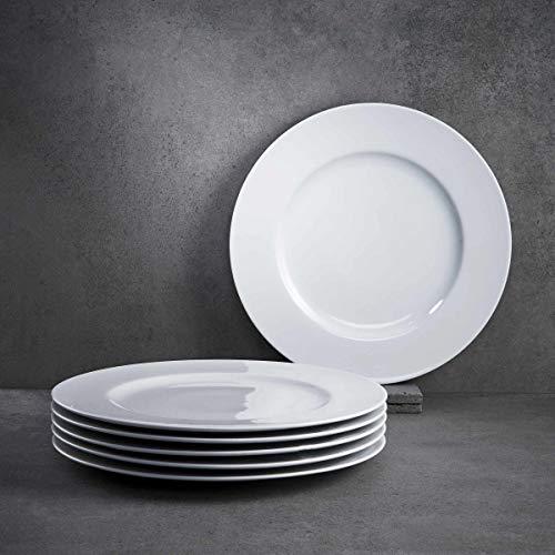 BUTLERS Puro Essteller 6er Set flach Ø 29 cm in Weiß - Moderne Speiseteller aus Qualitätsporzellan - Geschirrset klassisch