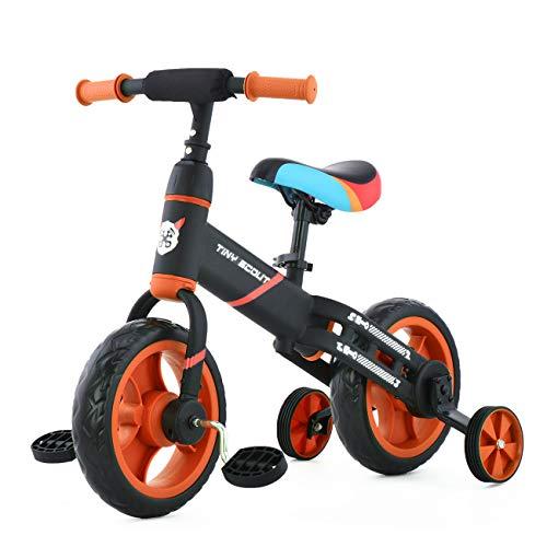 ZavoFly Balance bike da 12 '' per bambini da 2, 3, 4, 5 anni, bambina, bicicletta da passeggio per bambini 4 in 1 con ruote e pedali da allenamento, montaggio facile (JL102, arancia)
