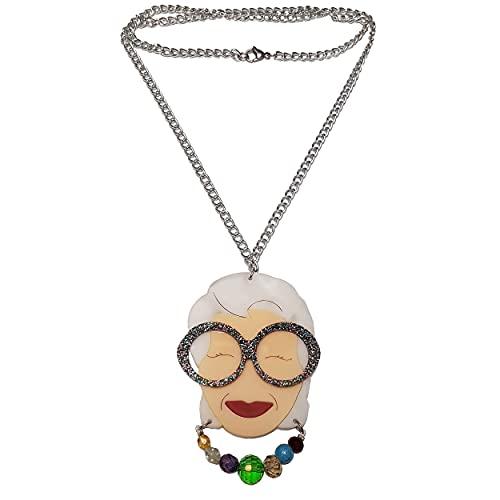 VIALESCARPE - Collar artesanal ArkyFly, sujeto Iris Apfel. Plexiglás tallado con láser y detalles grabados de colores a mano. Multicolor. Talla UE: