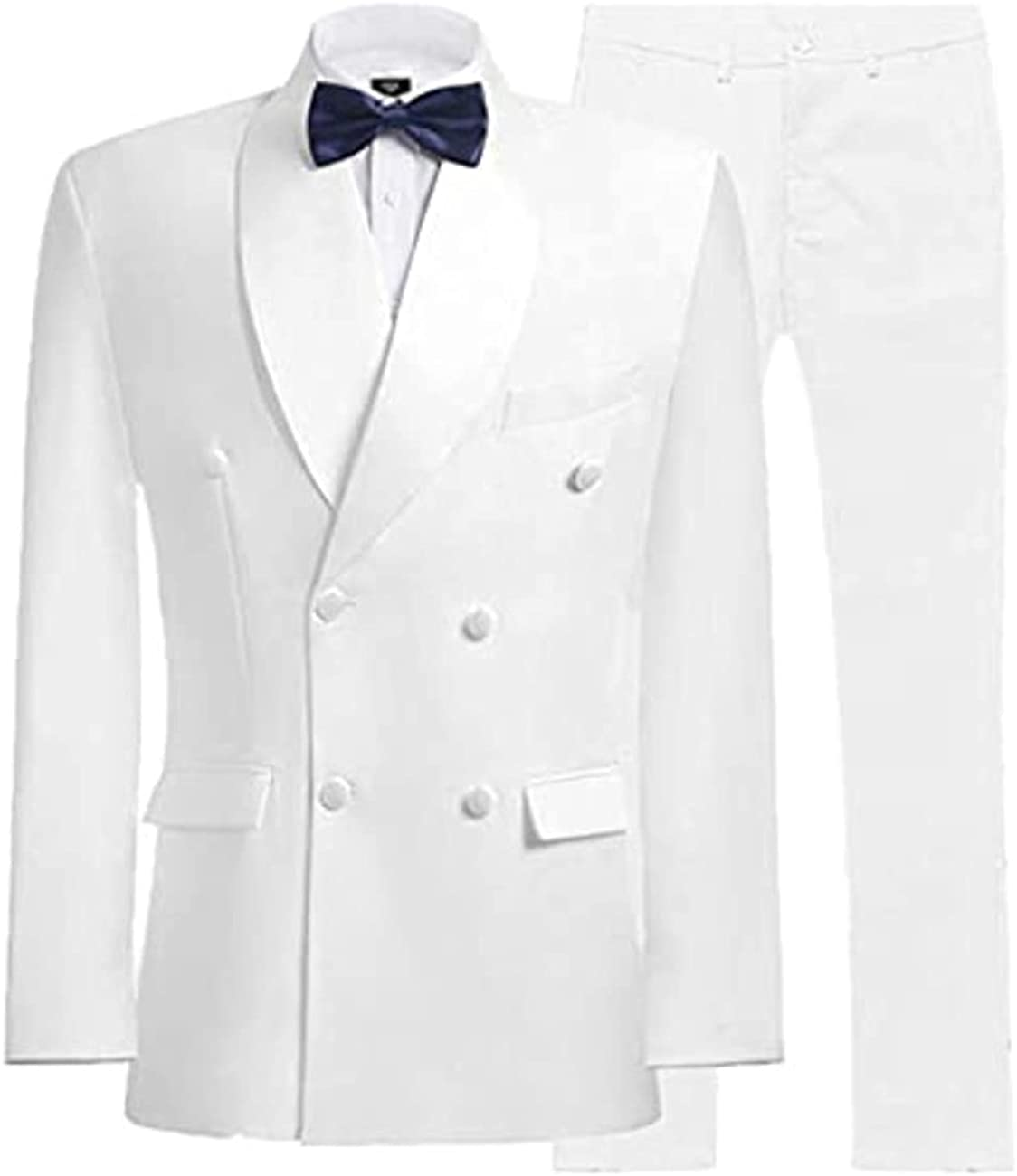 werp 2Pc Men's Solid Slim Fit Double Breasted Suit Shawl Lapel Wedding Suits Tuxedo Jacket