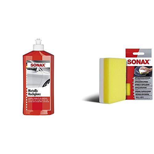 SONAX MetallicHochglanz (500 ml) spezielle Politur für alle Metalliclacke & ApplikationsSchwamm (1 Stück) zum Auftragen und Verarbeiten von Polituren, Wachsen, Kunststoffpflegemitteln etc.