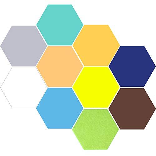 Elinala Corcho Pared Autoadhesivo, Pizarra Corcho, Tablero de Notas de Azulejo de Fieltro de Corcho Autoadhesivo Hexagonal Multicolor de 10 Piezas para el Hogar y la Oficina