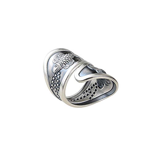Anillo de plata de ley 925 doble de pez retro índice dedo medio abierto anillo personalizado tailandés de plata hacer viejos hombres y mujeres joyería