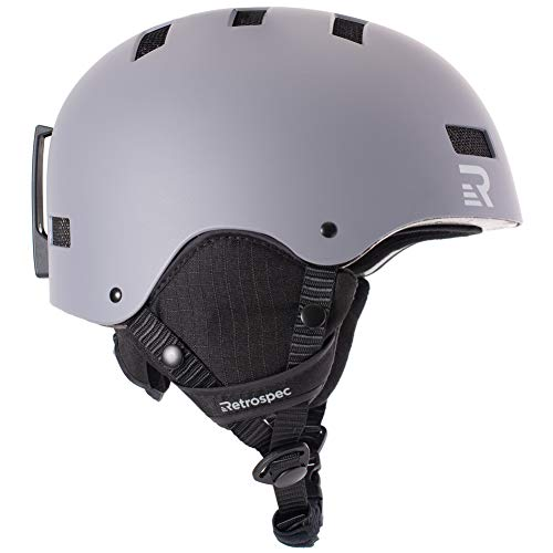 Retrospec Traverse H1 Ski & Snowboard Helmet, Convertible to Bike/Skate, Matte Charcoal, Medium (55-59cm)