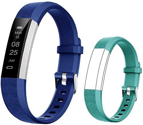 BIGGERFIVE Fitness Armband für Kinder, Schrittzähler Uhr Fitness Tracker mit Kalorienzähler und Schlafmonitor, Wasserdicht Aktivitätstracker Armbanduhr mit Vibration Wecker (blau grün)