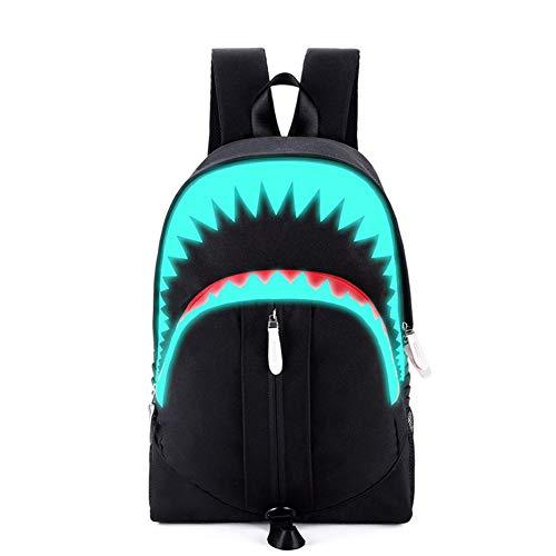CGMZN grote mond haai USB lichtgevende rugzak Jeugd mode rugzak kinderen student ademende lichtgewicht schooltas, zwart
