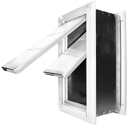 "Endura Flap Pet Door Double Flap Wall Mount - Large Flap (10"" x 18""), White"