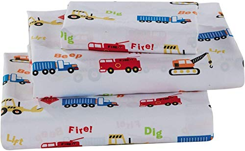Better Home Style Multicolor Cranes Backhoes Construction Equipment Trucks Fire Engine Design for Kids/Boys 4 Piece Sheet Set with Pillowcase Flat and Fitted Sheets # Crane (Queen)