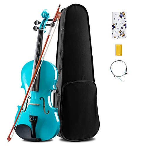 MATICO 4 Strings 4/4 Full Size Basswood Violin Student Set for Starters, Handcrafted and Acoustic with Case, Bow, Bridge, Rosin, Cloth and Spare Strings, Glossy Blue