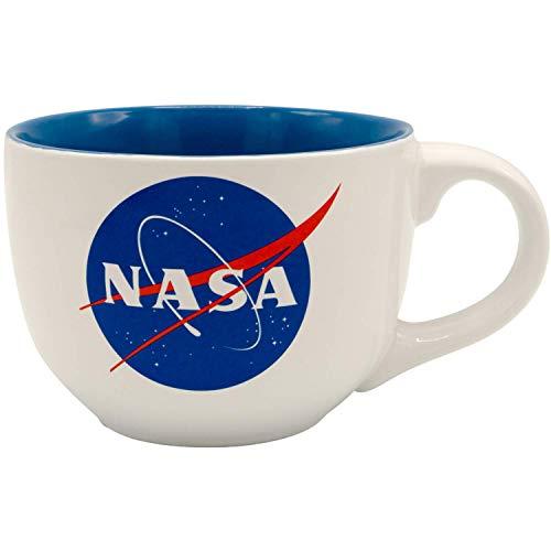 Silver Buffalo NASA Logo Soup Ceramic Mug, 24-Ounce, White and Blue...
