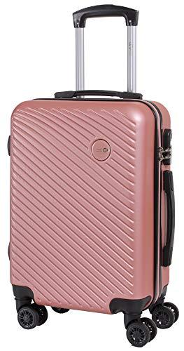 CABIN GO 5508 Valigia Trolley ABS, bagaglio a mano 55x37x20, Valigia rigida, guscio duro e antigraffio con 8 ruote, Ideale a bordo di Ryanair, Alitalia, Air Italy, easyJet, Lufthansa ROSA