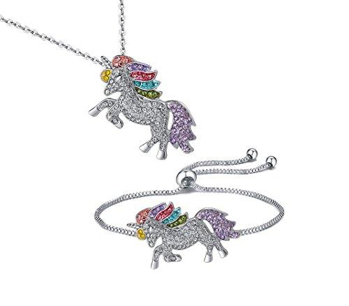 Unicorn Necklace - 2 Pack Rainbow Unicorn Necklace Bracelet Set for Girls (Unicorn Gift Set)