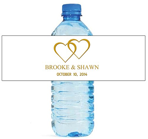 """100 Modern White with Gold Wedding Anniversary Engagement Party Water Bottle Labels 8""""x2"""""""