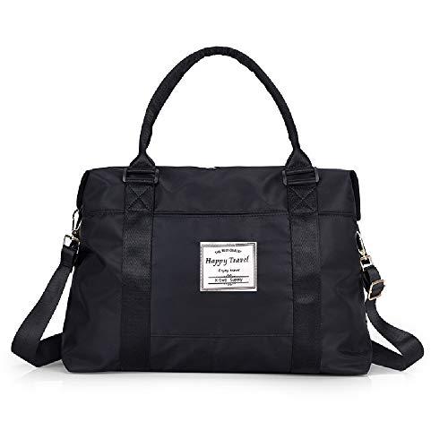 AUSTARK Sports Duffel Bag, Travel Weekender Gym Tote Bag, Large Nylon Overnight Shoulder Bag Crossbody Bag with Trolley Sleeve and Wet Pocket for Women Men (Black)