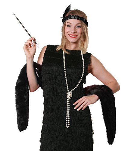 BLACK FLAPPER FANCY DRESS INSTANT GATSBY KIT BLACK FEATHER BOA + FEATHER HEADBAND + PEARL NECKLACE + CIGARETTE HOLDER 20S GREAT GANGSTER MOLL